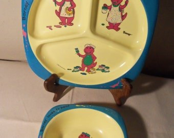 Vintage Barney Loves to Paint Dish Bowl Set Lyons Group 1992