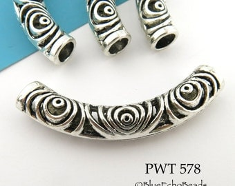 53mm Large Curved Pewter Tube Bead, Concentric Circles Tube Bead (PWT 578) 1 pc BlueEchoBeads