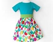 TULIPS GARDEN girl handmade linen dress with short sleeves, toddler girl party dress, girls designer clothing, birthday party tulips dress