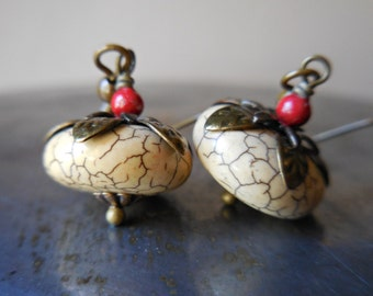 Pumpkin earrings, harvest earrings, beige yellow turquoise, handmade jewelry, Thanksgiving brass earrings with stones bronze off white fruit