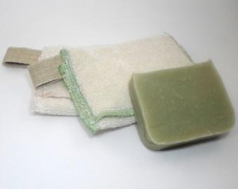 2 Zero waste Soap Savers and 1 soap by Aquarian Bath - Go green - ecofriendly - gift set - towel - washcloth set - unique design
