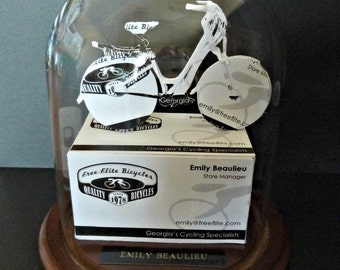 Girl's Bike Bicyclist Business Card Sculpture -NO 1102N -Any Theme, Sport or Profession