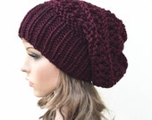 Hand knit hat - Oversized Chunky Wool wine Hat, slouchy hat in Burgundy