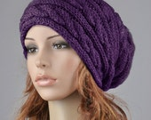 Hand knit hat wool winter hat woman hat Purple hat slouchy hat cable hat - ready to ship