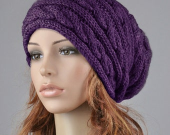 Hand knit hat wool winter hat woman hat Purple hat slouchy hat cable hat
