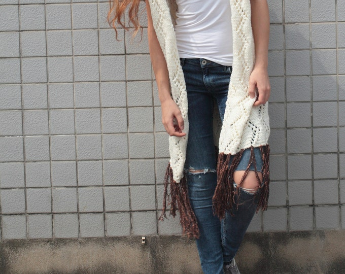 Hand knit long vest sweater Wool cardigan white cream woman sweater fringe