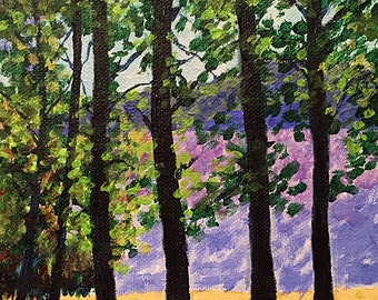 Forest Trees Wall Art, Original Painting, Winchester, New Hampshire 6x6""