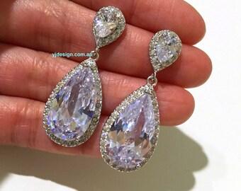 Cz Drop Bridal Earrings, Teardrop Wedding Earrings, Cubic Zirconia Earrings, Wedding Jewelry, Crystal Dangle Earrings, Gift for Her, RAINA