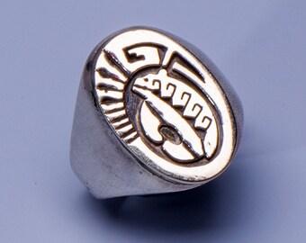 Navajo Sterling 14k Signet Ring -  Men's Bear Overlay - sz 11