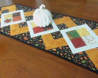 Fall Table Runner, Autumn Table Topper, Quilted Table Runner, Fall Table Decor, Thankgiving, Patchwork, Autumn Leaves, Quiltsy handmade