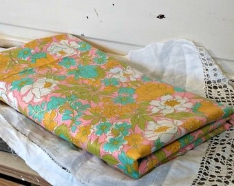 Vintage Fabric Yardage | Two Yards 1960's Floral Cotton
