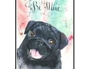 Valentine's Day Black Pug Dog Greeting Card