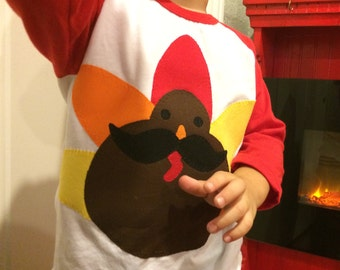 MUSTACHE TURKEY Gobble BOYS Thanksgiving Raglan Tee