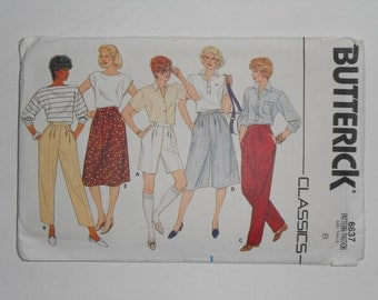 Vintage 80s Summer Shorts, A Line Skirt, Culottes and Pants Pattern Classics Butterick 6637 Size 8 Waist 24 UNCUT