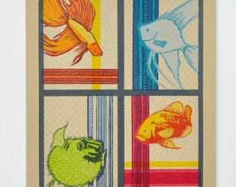 FOUR FISH : Limited Edition Letterpress Linocut Block Print