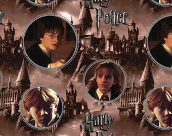Harry Potter Hermione Ron Hogwarts Digital Scenes Camelot Cotton Woven Fabric by the yard