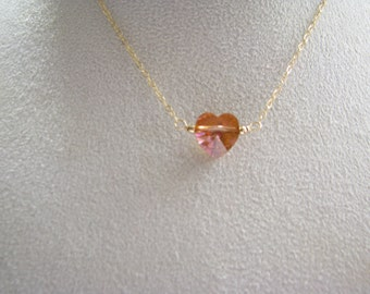 SALE, Swarovski Topaz Crystal Heart Pendant Necklace, 14k Gold Filled Necklace, Valentines Day Gift, Gift For Mom