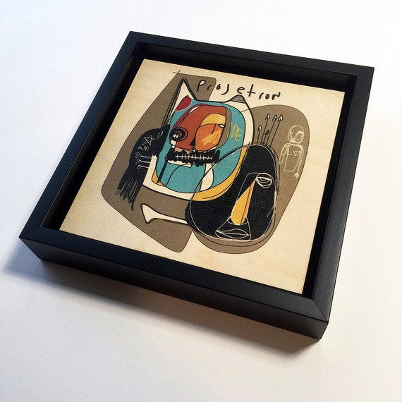 Projection - Original Vector Drawing - 6x6 Print on Wood - Framed