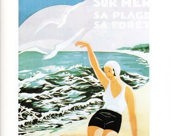 Vintage Travel Poster Print Soulac France Girl on Beach Vintage Poster Book Print Plage D'Hiver et D'Ete