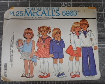 McCalls Children's  Clothing Pattern Sailor Dress, Sailor Suit Middy Top Boys and Girls Busybody Pattern Size 3 UNCUT
