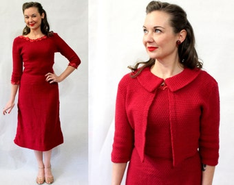 1950s dark red hand-knit wool dress and bolero jacket set
