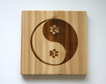 Yin Yang Paw Prints Engraved Cedar Sign Etched Wood Sign