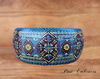 """Pysanka Designs Wooden Bowl 9"""" diameter 4"""" high"""