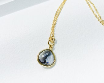 Ash Grey - Tear Drop - Crystal Glass Gold Long Necklace