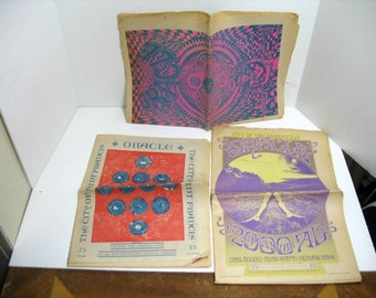 Lot of 3 ORACLE Magazine San Francisco 1967 Vol (1) 9-10-12 Underground Newspaper Haight Ashbury Hippie Psychedelic