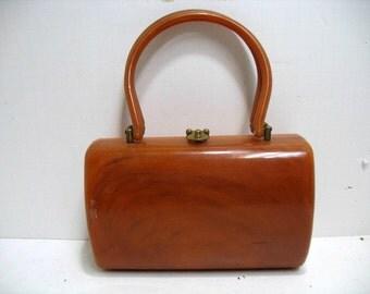 Vintage Lucite Amber Purse Handbag Barrel Round Rectangle Style Purse Hand Bag