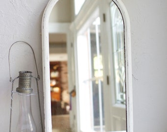 """15.5"""" x 30"""" Tall Vintage White Scalloped top Mirror. Blank or custom painted as a welcome sign, program, timeline, drinks, quote, vows, menu"""
