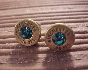 Bullet Earrings Winchester 38 Special Brass Shell Teal Blue Swarovski Crystal - Free Shipping to USA