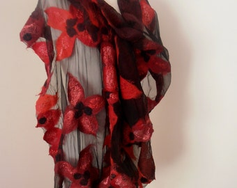 Nuno felted Merino silk gauze scarf wrap by plumfish rich reds burgundy