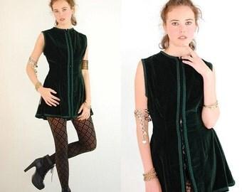 SALE SALE Velvet Tunic Vintage Dark Forest Green Sleeveless Velvet Tunic Gypsy Festival Vest (s m)