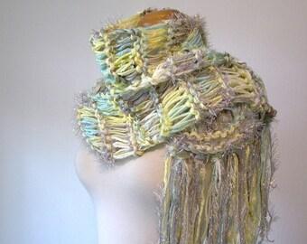 playa. handknit scarf . vegan knit scarf . shabby cottage chic . fall fashion scarf . white yellow taupe robins egg blue sparkle scarf