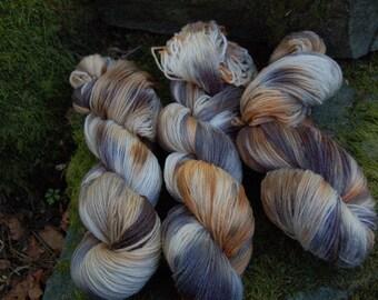 Handpainted sock yarn, fingerling yarn, Superwash Merino Nylon, 100 grams-Copper and Tin