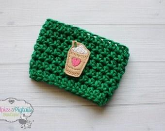 Crochet cup cozy { Green Starbucks } Frappucino, Coffee cozies, knit mug sweater, tea Perfect for ceramic plastic cups, planner