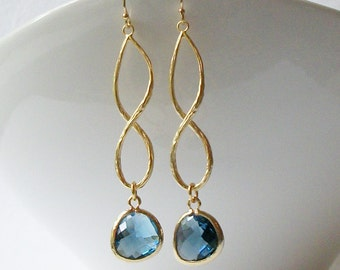 Sapphire Blue Crystal Infinity Drop Earrings, Birthstone Jewelry, Cool Infinity Drop Earrings