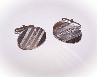 Retro Modern STERLING SILVER Oval Cufflinks with Engraved Design