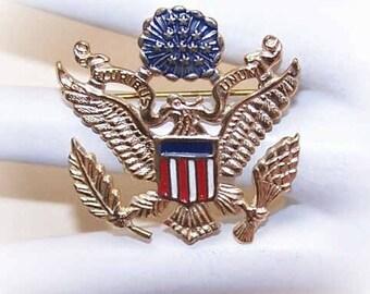 Vintage STERLING SILVER Vermeil & Enamel Patriotic Pin/Brooch - American Eagle