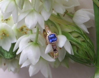 "Blue Sapphire and Diamond Ring, ""Etoile,"" OOAK Engagement or Right Hand Ring, Ready to Ship"