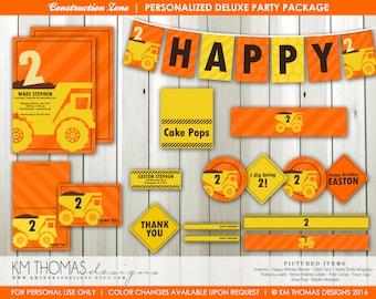 Printable Construction Party Decorations, Boy Birthday Invitation, Dump Truck Birthday Banner, Custom Dump Truck Party Theme BD103