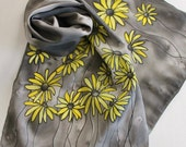 Hand Painted Silk Scarf - Handpainted Scarves Yellow Black Gray Grey Charcoal Lemon Sun Bumblebee Bumble Bee Flowers Daisies Daisy Floral