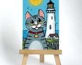 Original ACEO Grey Tabby Cat White Lighthouse Coast - Whimsical Art Illustration