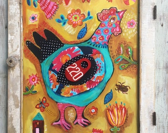 Mixed Media Folk Art Chicken Painting
