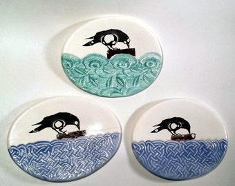 Tea Bag Holder Crow Ceramic Dish Kitchen Decor Collectible Stoneware Raven Spoon Rest Trinket Ring Holder