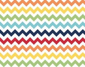 Sale - Rainbow Chevron Fabric By The Yard - 100% cotton - Riley Blake