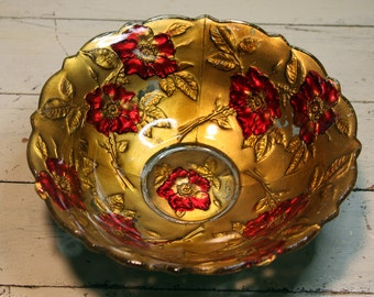 Vintage Bowl- Goofus Glass- VICTORIAN Bowl in Gold & Red- Poppy Pattern- Very Old Shabby Chic E-03