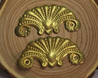 Furniture HARDWARE Salvaged Drawer Pulls- Gold Toned- Escutcheon Plate