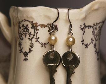 Key EARRINGS- Vintage Found Object Jewelry- Dangle Pearls- Industrial Steampunk Earrings
